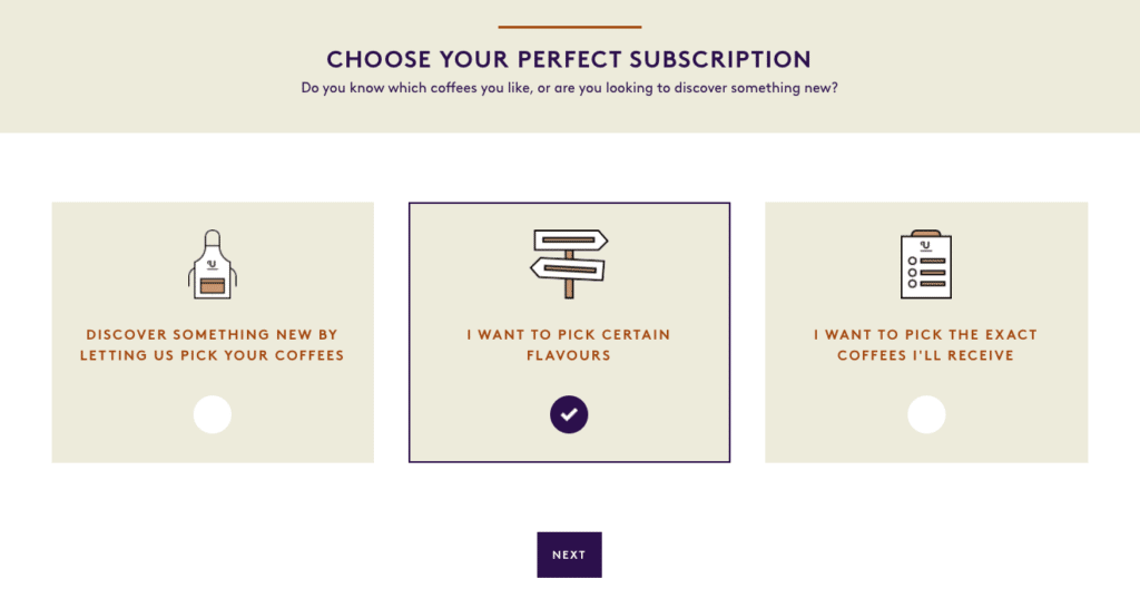 Union coffee subscription customisation