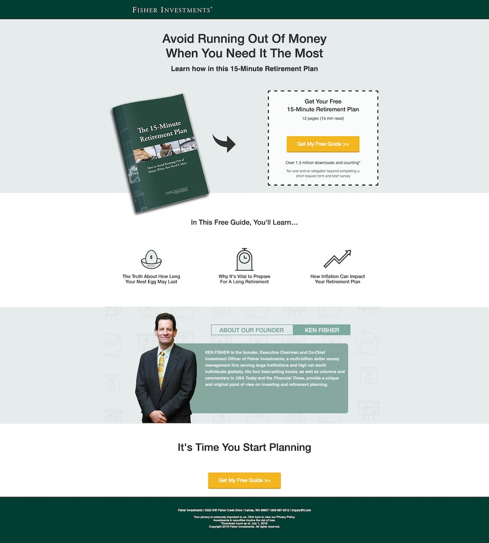 Ebook landing page with hand drawn arrow