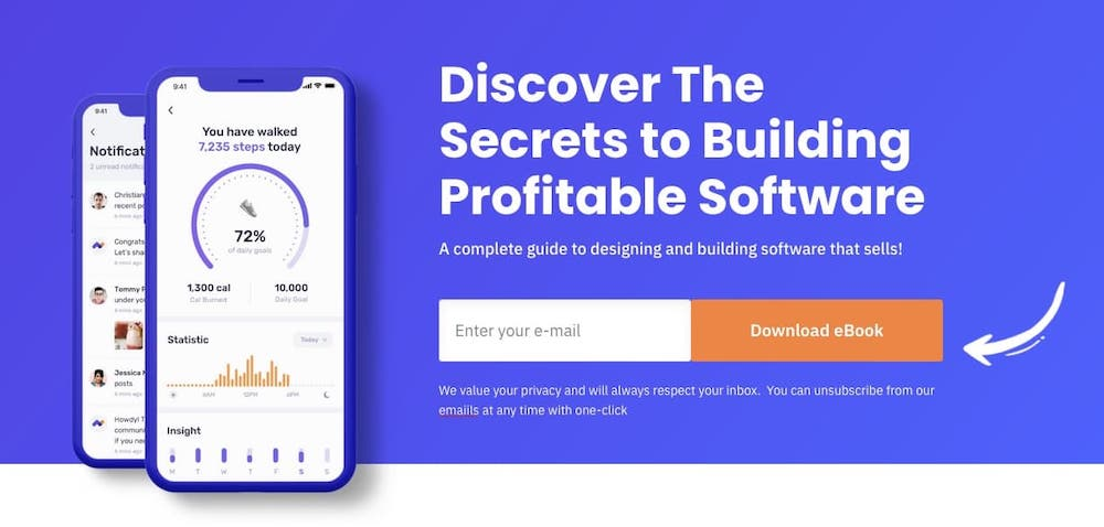 Final landing page with arrow to button