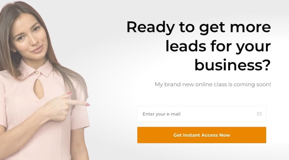 Directional cue landing page