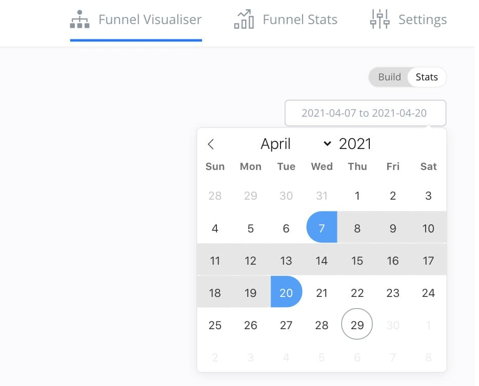 Date filter select for funnel stats