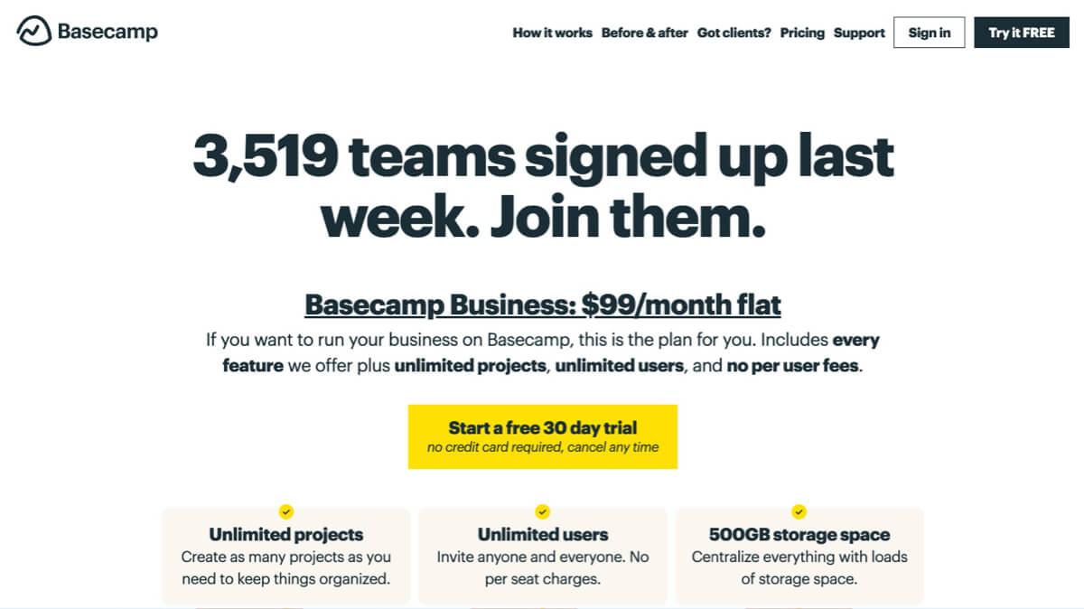 Basecamp alternative saas pricing