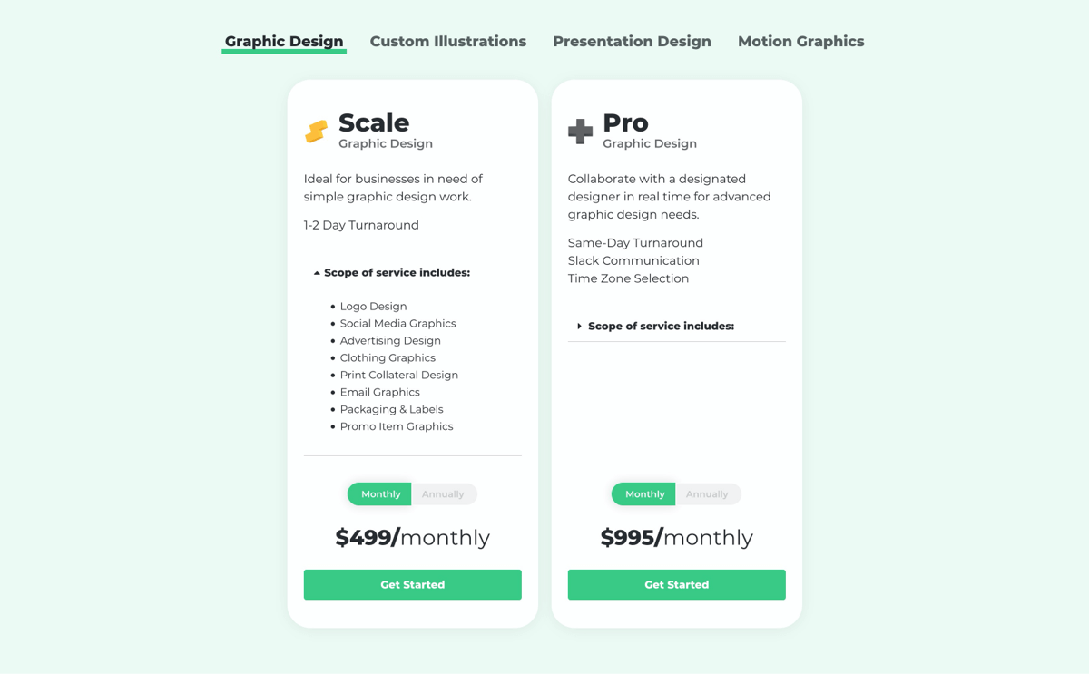 Design Pickle Subscription pricing