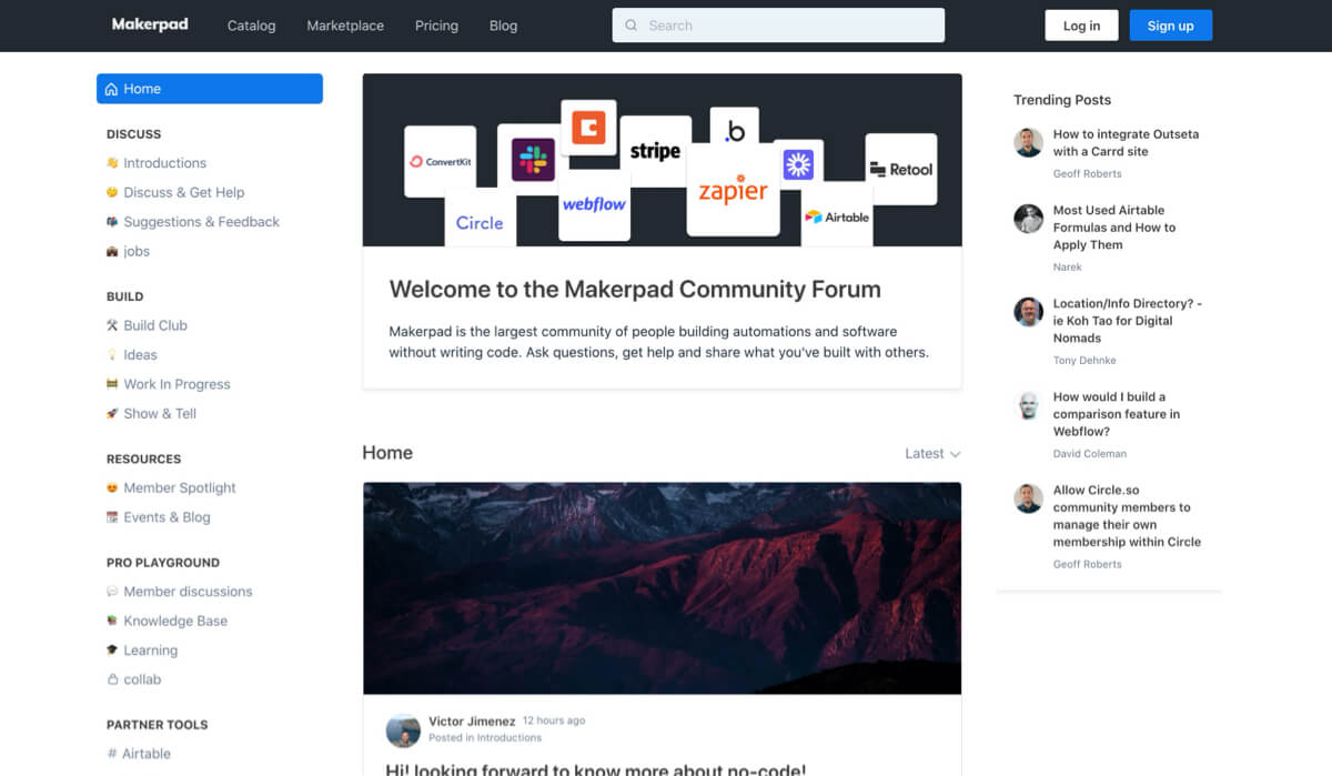 online community membership site model - makerpad example