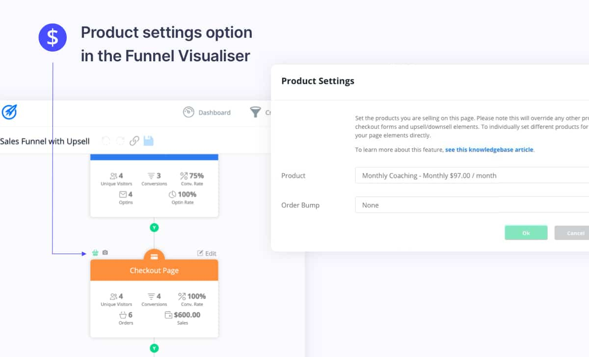 Set product in Funnel Visualiser