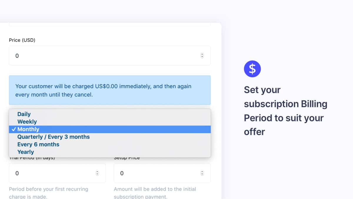 Customize your subscription billing period