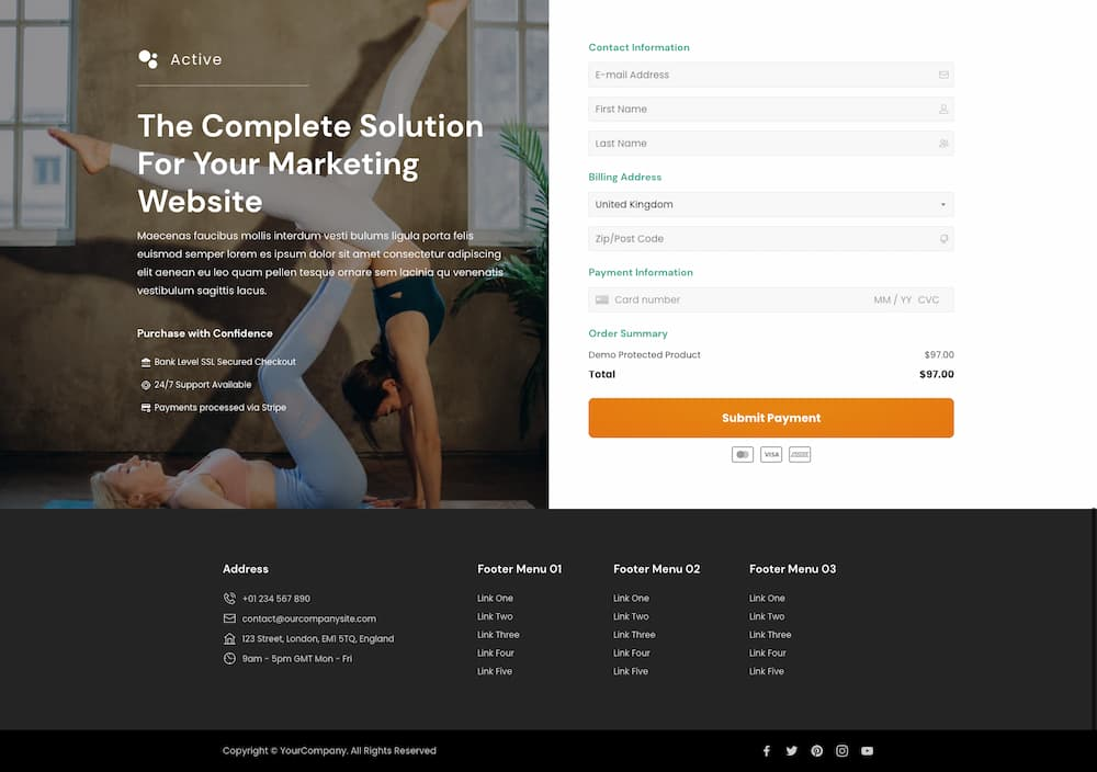 Personal trainer website checkout page template