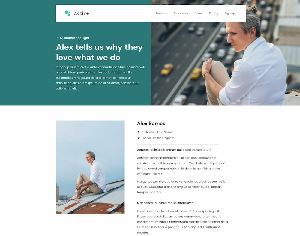 Active Testimonials Page template