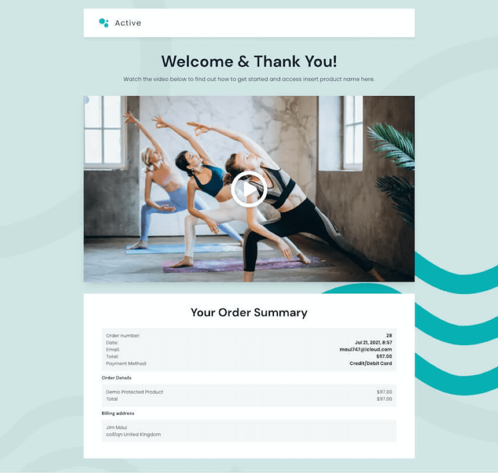 fitness business checkout summary page